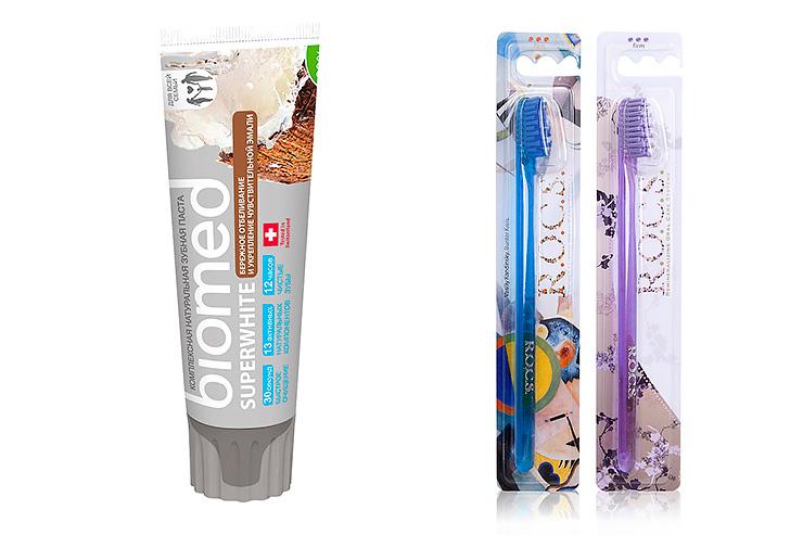 Biomed зубная паста иR.O.C.S зубная щетка