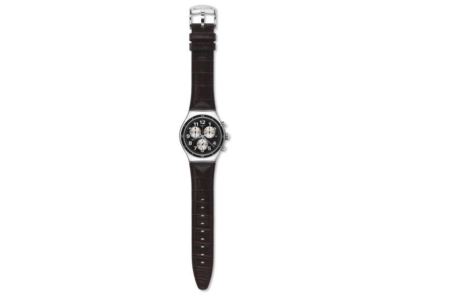 Стальные часы на кожаном ремешке, Swatch, 6100 руб., Swatch